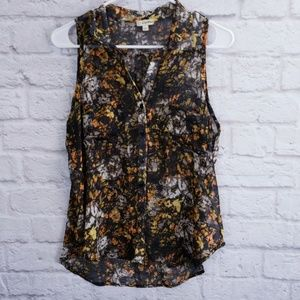 Lilly White  Blouse Sleeveless Sheer Camouflage